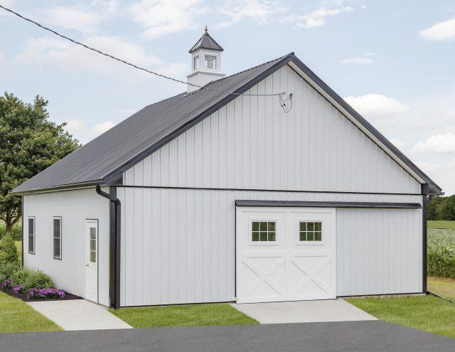 white prefab garage