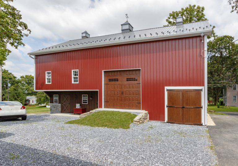 red metal detached barn