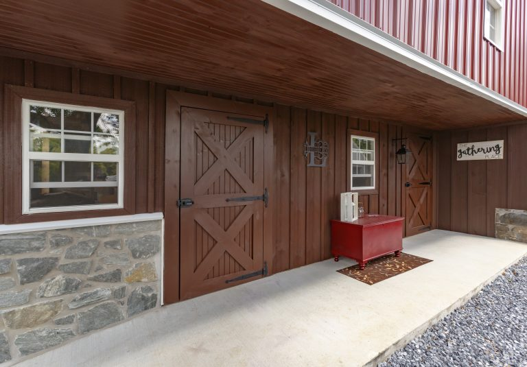 red custom barn entrance