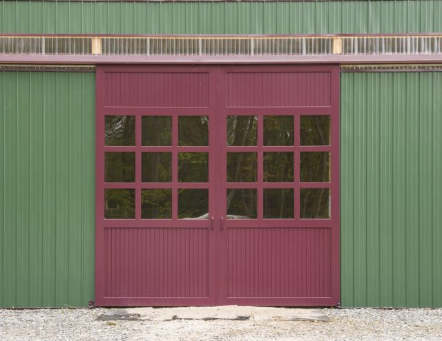 red front doors on barn